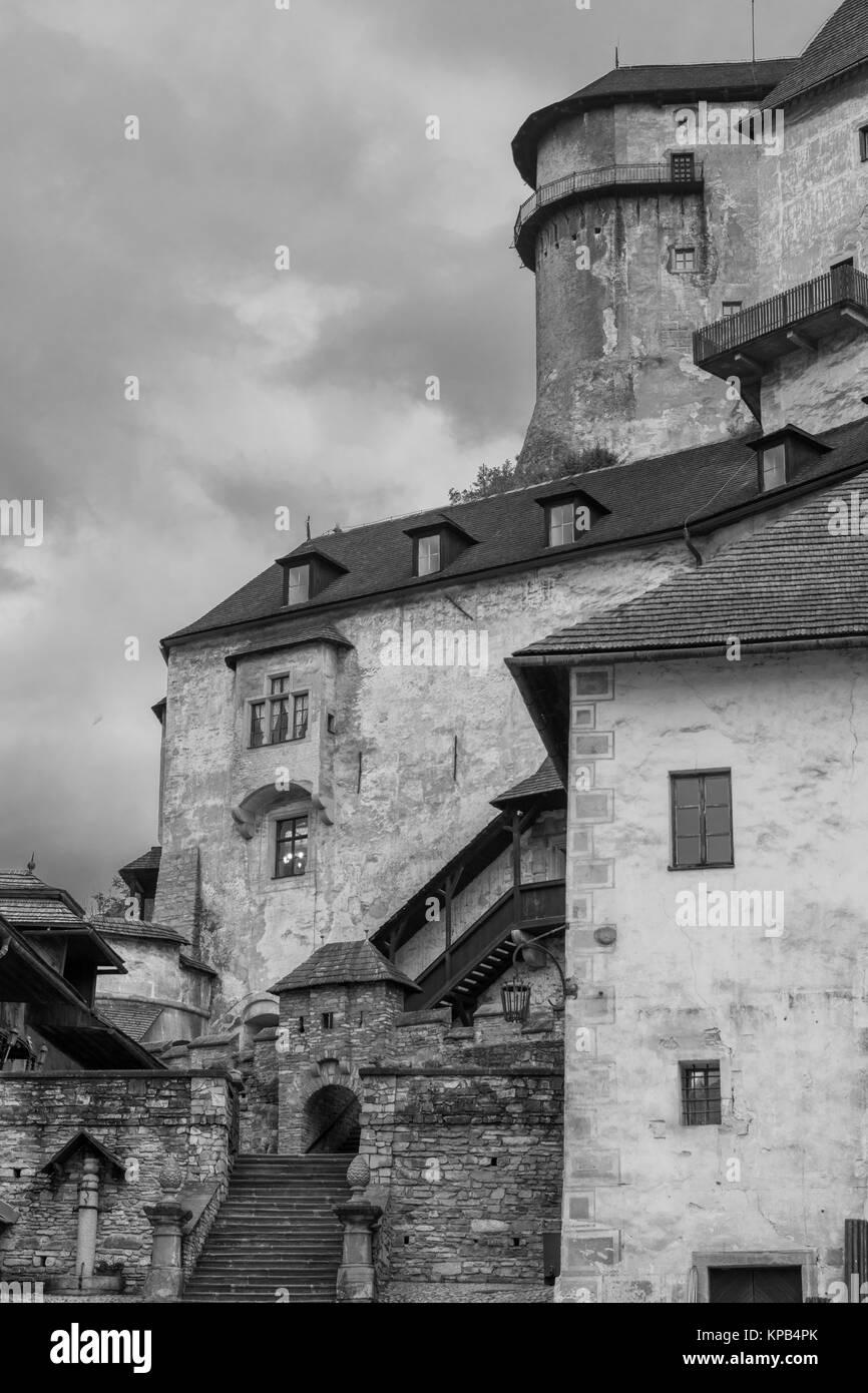 Orava castle with stairs part portrait - Stock Image