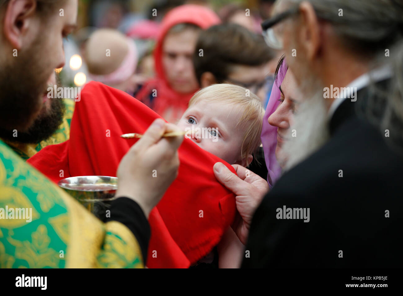 "Belarus, Gomel city, St. Nicholas Monastery, a religious Orthodox holiday ""Palm Sunday"" 19.06.2016 year. Unknown Stock Photo"