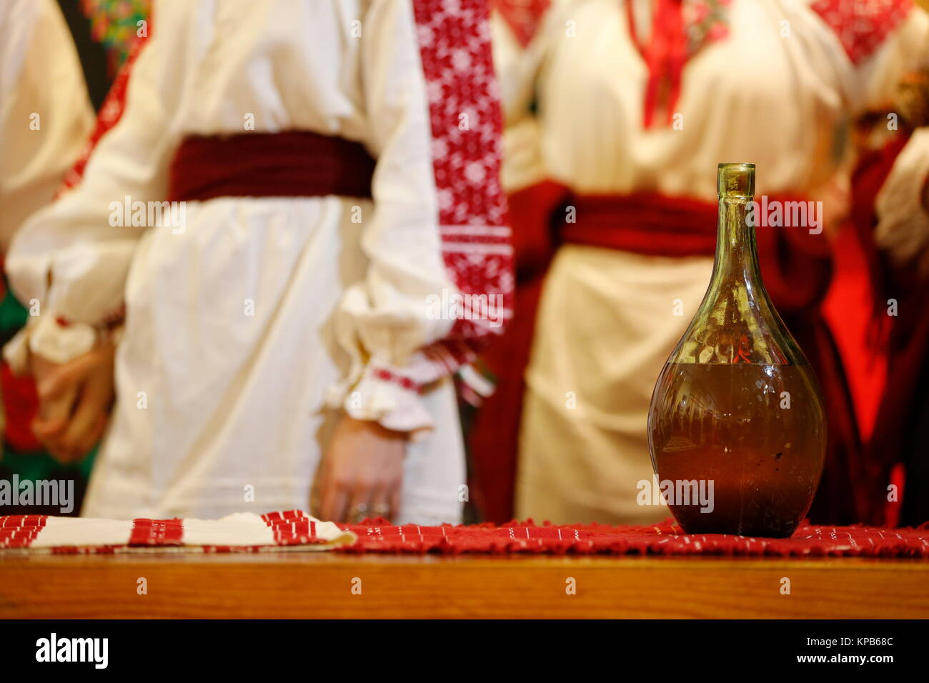 Bottle with moonshine. National Ukrainian alcoholic beverage. National alcoholic beverage - Stock Image