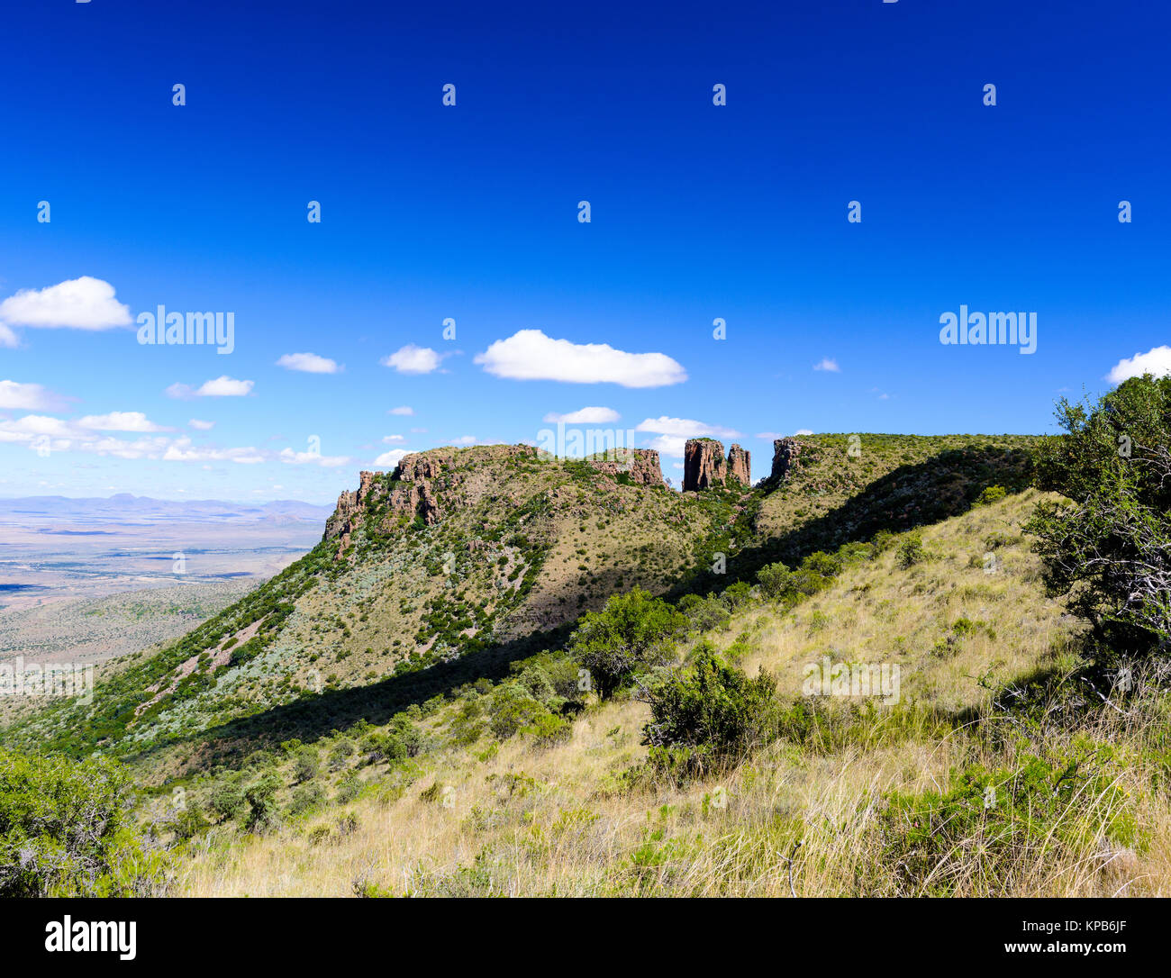 Color outdoor panorama landscape photography of a hill with rocks in South Africa Graaff-Reinet,Valley of Desolation, - Stock Image