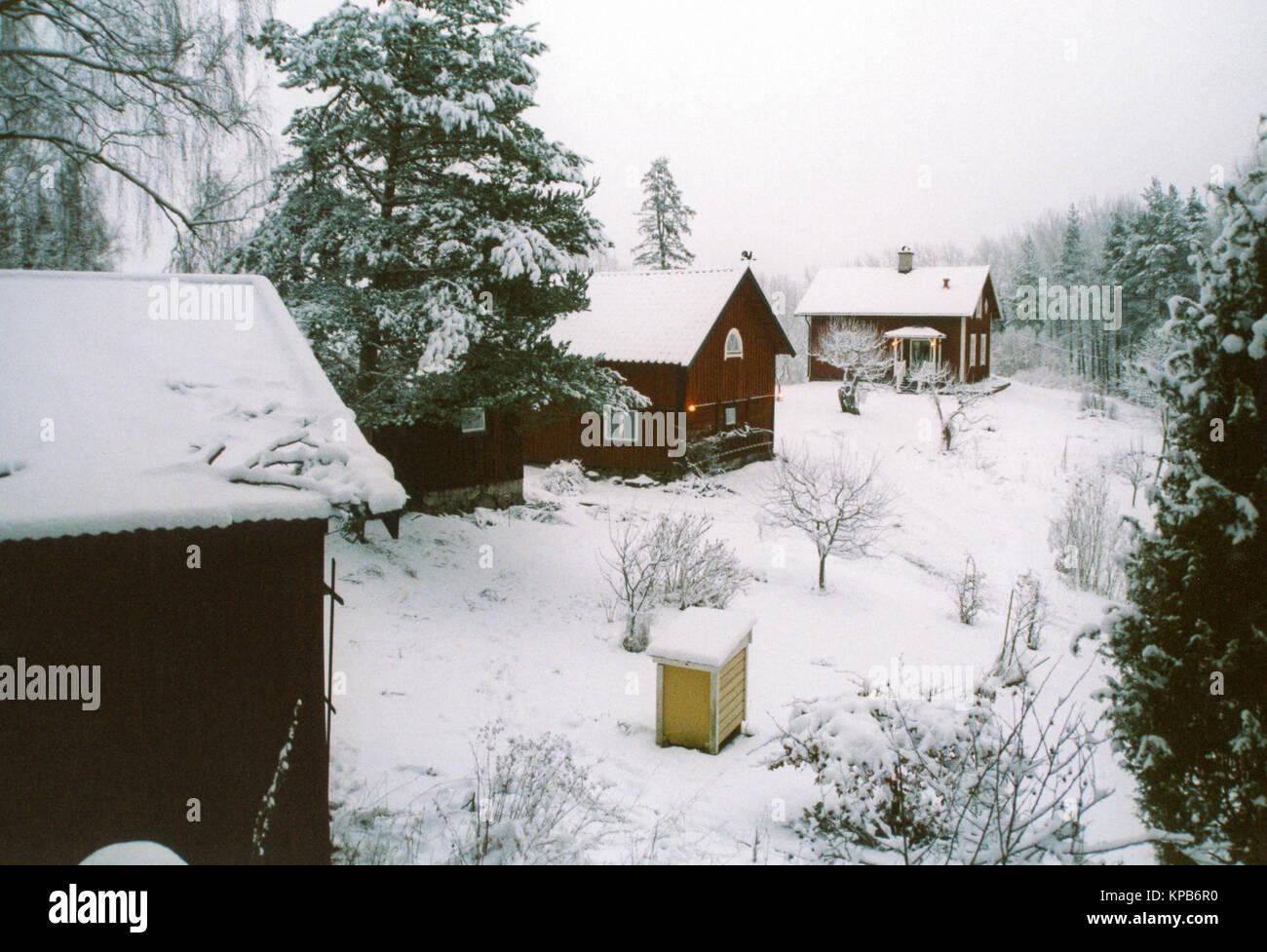 SMALL FARM HOUSE in winter season 2015 - Stock Image