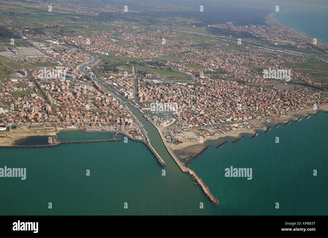 aerial view of the Tyrrhenian coastline and Fiumicino town, near Roma, Lazio, Italy - Stock Image