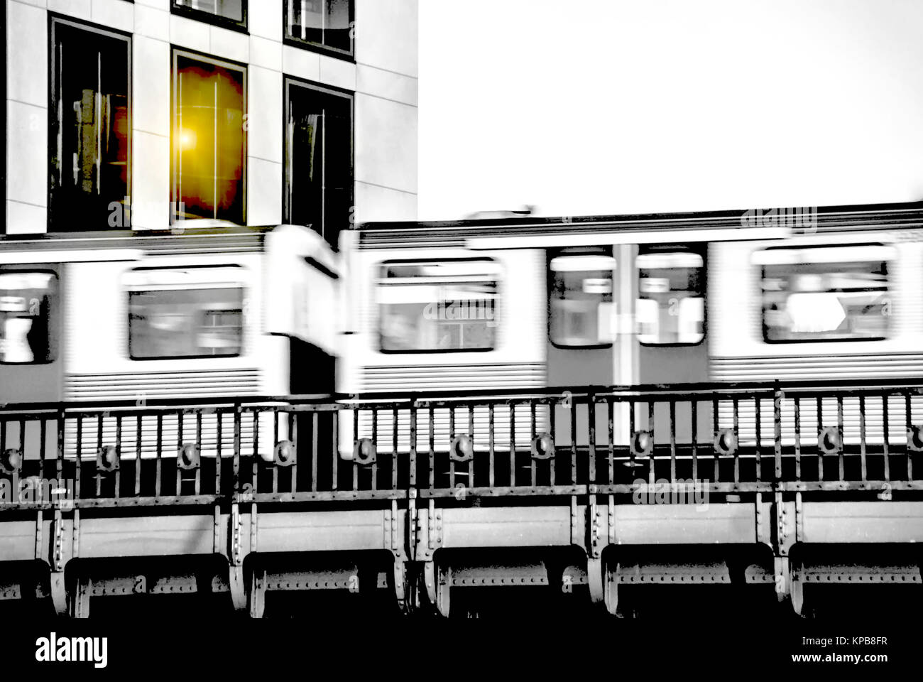 Subway with motion blur outdoor in Hamburg Stock Photo