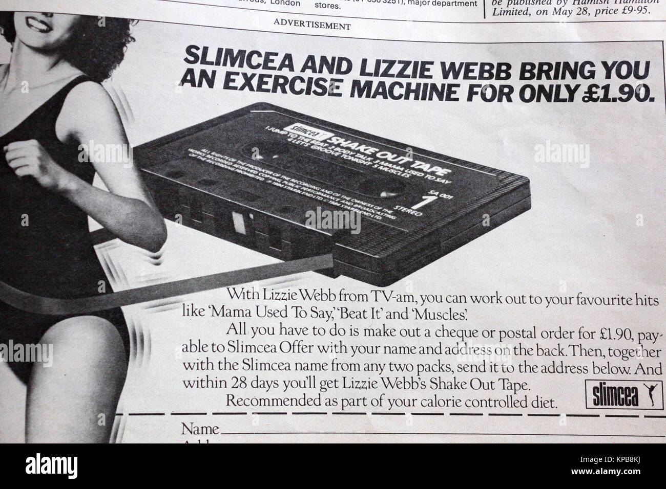 "Advertisement in 1984 edition of UK magazine ""Woman"" offering Slimcea workout cassette tape Stock Photo"