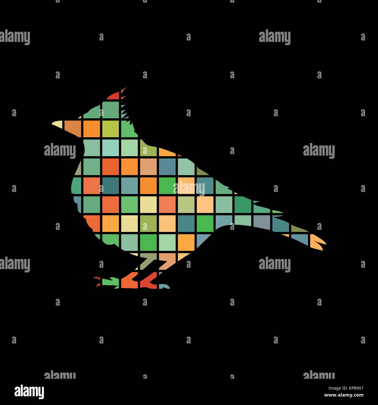 Skylark lark bird mosaic color silhouette animal background blac - Stock Vector