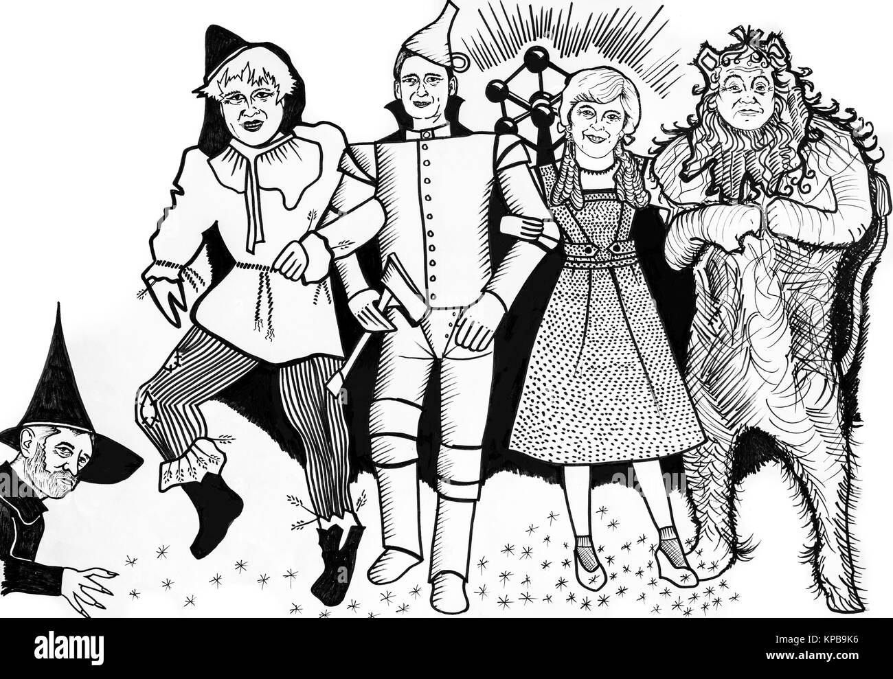 Satirical cartoon of Theresa May and political leaders dressed as characters in The Wizard Of Oz during Brexit negotiations - Stock Image