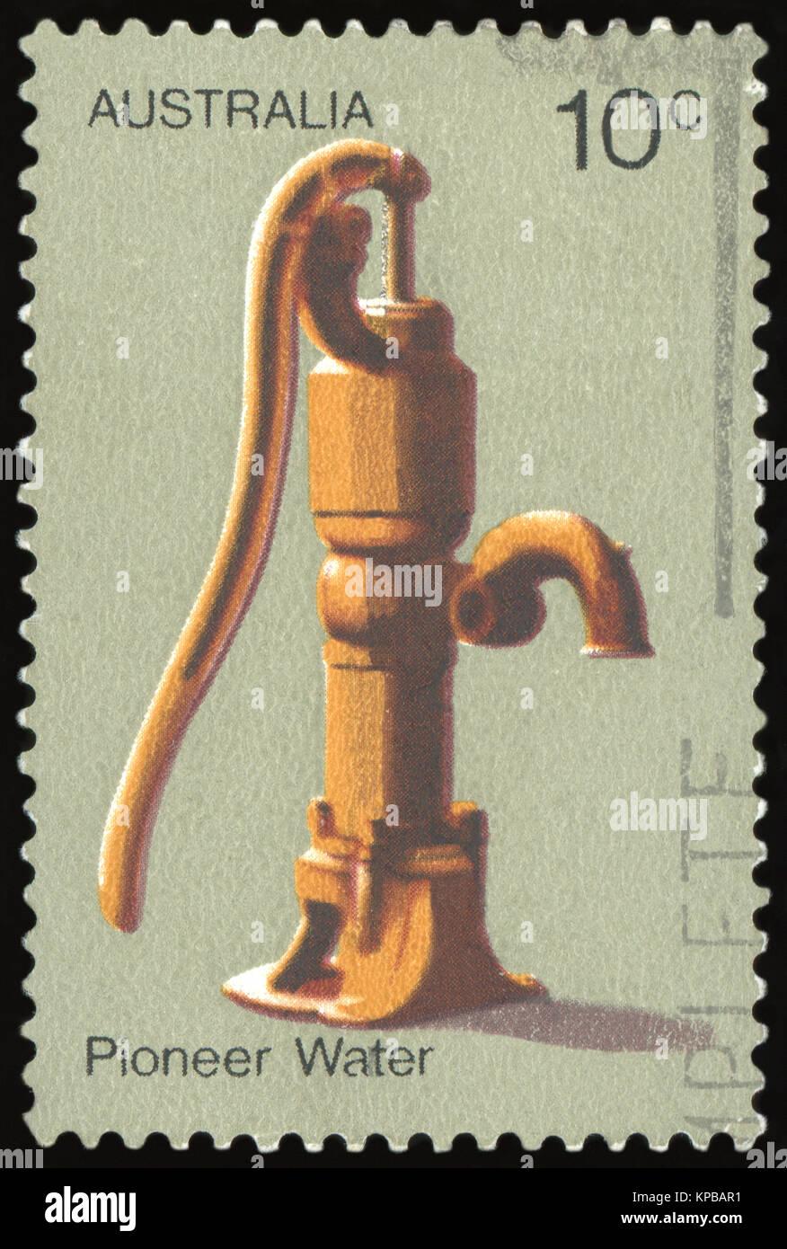 AUSTRALIA - CIRCA 1972: a stamp printed in the Australia shows Water Pump, Australian Pioneer Life, circa 1972 - Stock Image