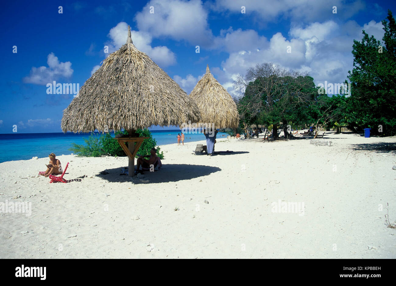 Parasol at the beach at Cas Abou, Curacao, Netherlands Antilles - Stock Image