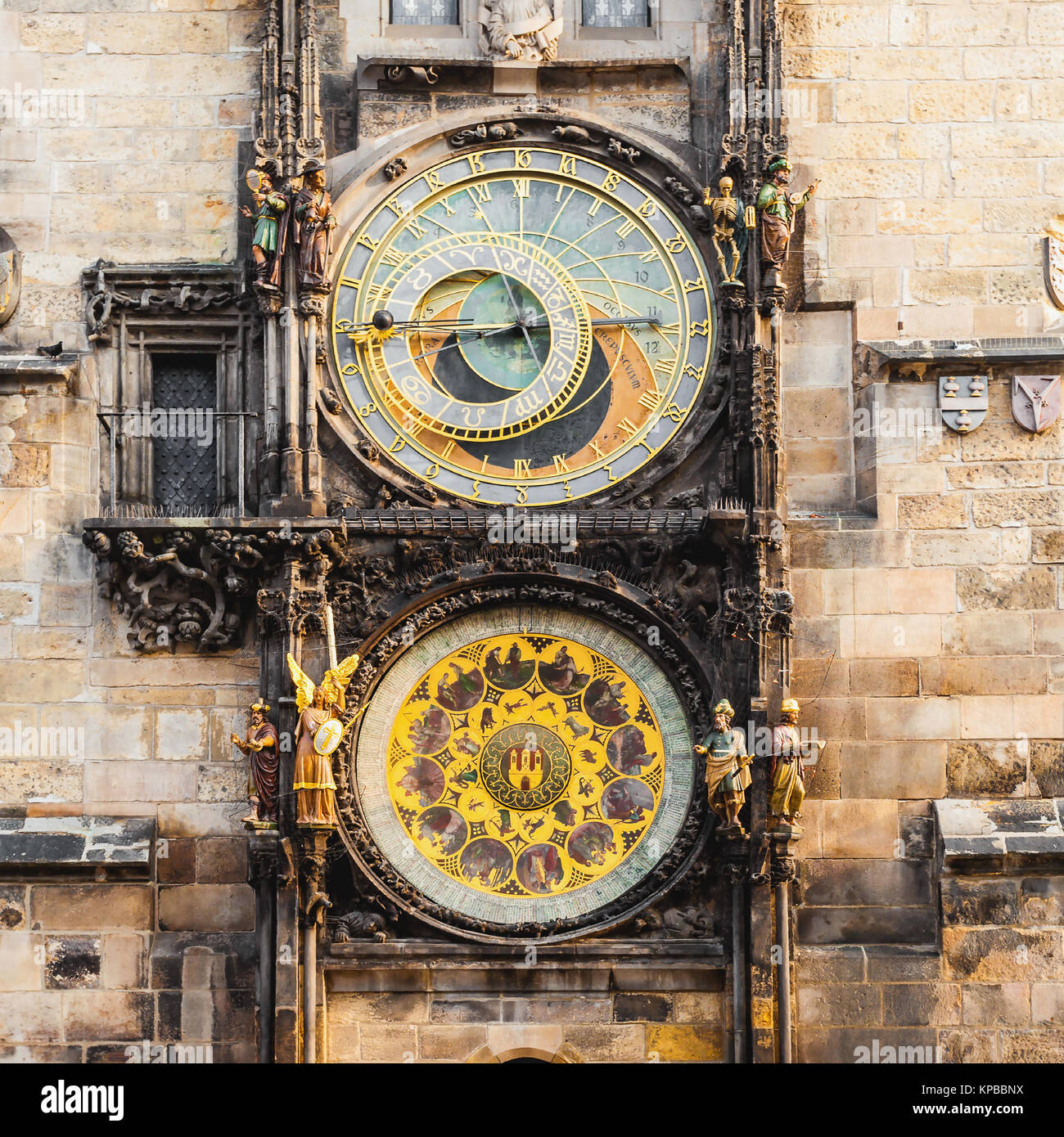 Prague astronomical clock in Old Town Square - Stock Image