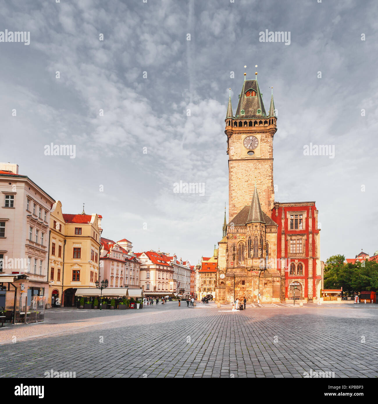 Old Town City Hall in Prague, view from Square. - Stock Image