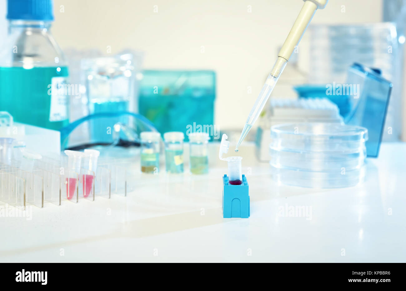 Scientific background. Automatic pipette, loading of liquid sample into plastic tube. This image is toned. Stock Photo