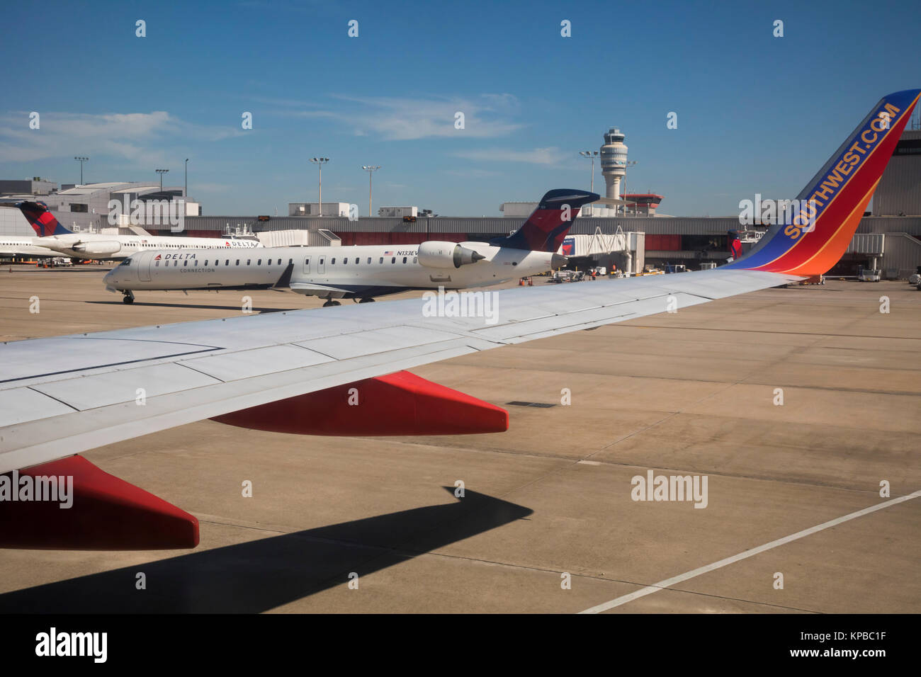 Atlanta, Georgia - Southwest and Delta jets on the tarmac at Hartsfield–Jackson Atlanta International Airport. - Stock Image
