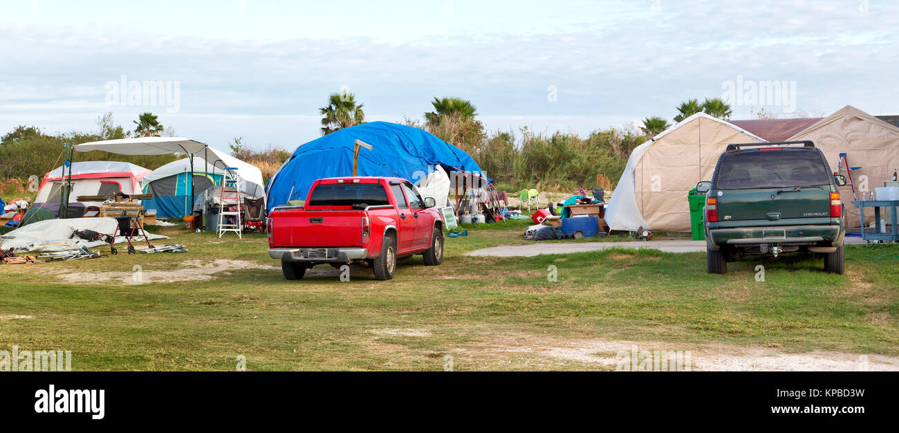 Tent City, sheltering survivors resulting from hurricane  Harvey 2017. - Stock Image