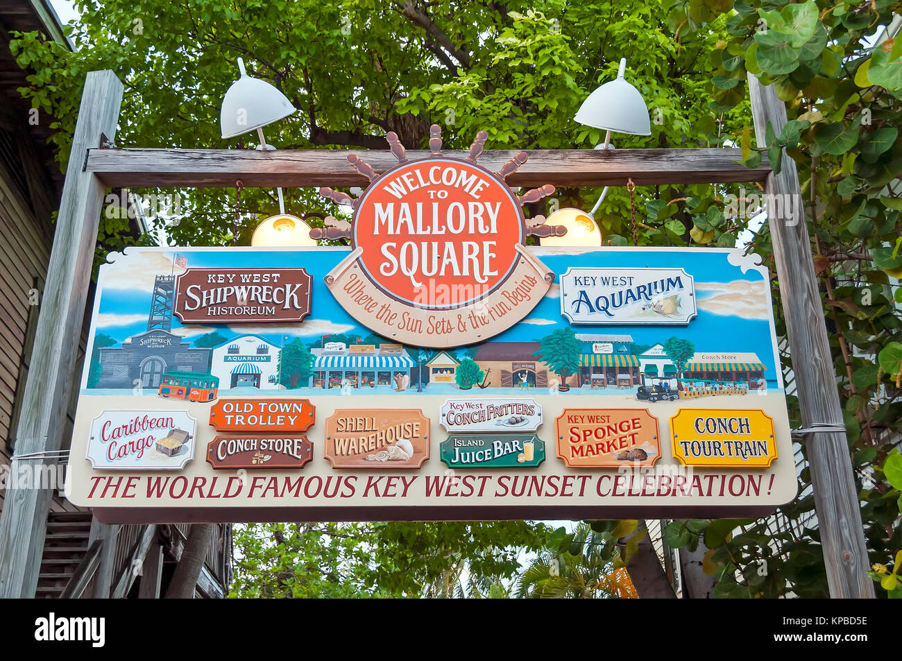 Welcome to Mallory Square  Where the Sun Sets & the Fun Begins outdoor sign, Key West, Florida - Stock Image
