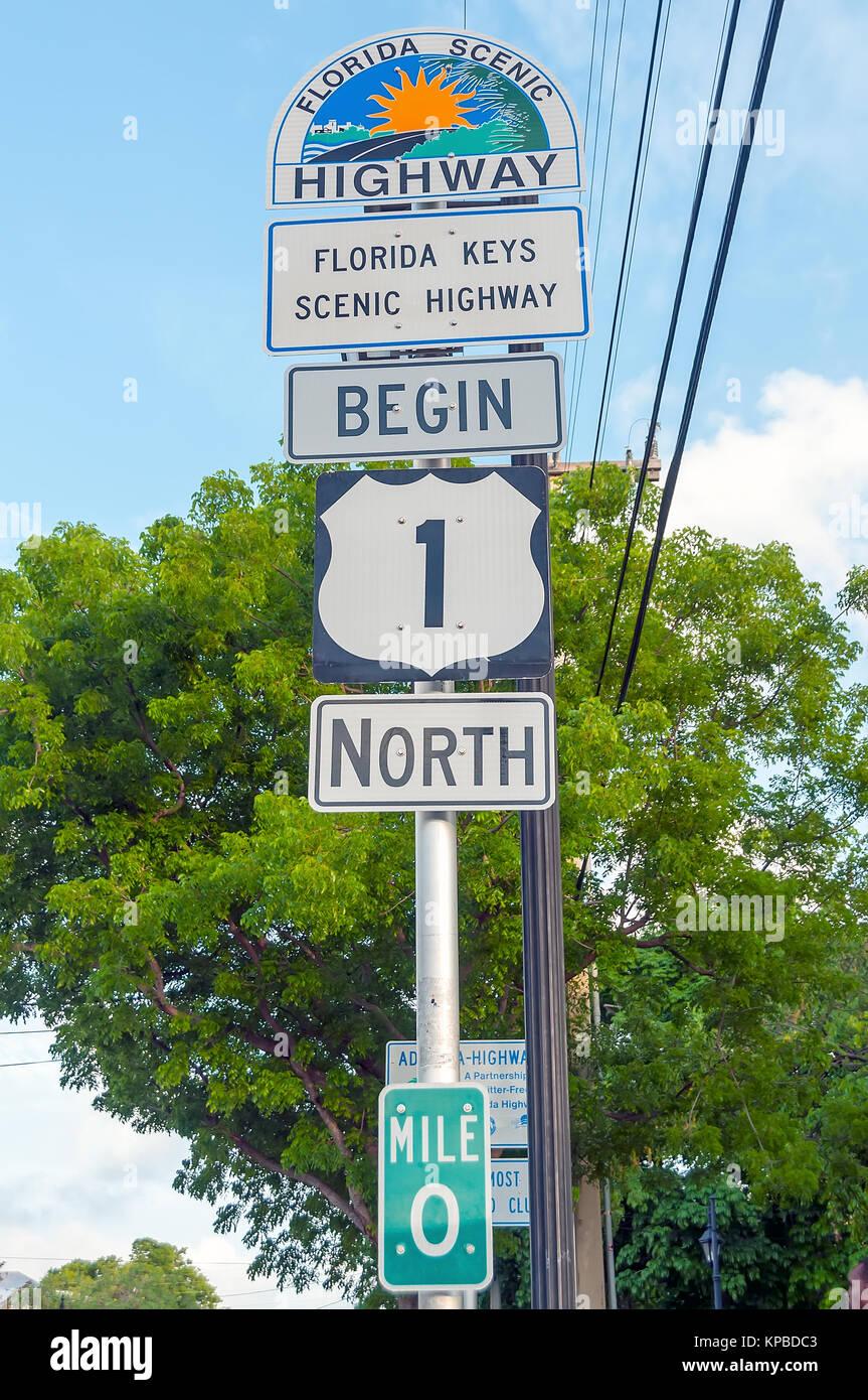 Mile 0 begin US1 north on Florida Keys Scenic Highway, Key West, Florida - Stock Image