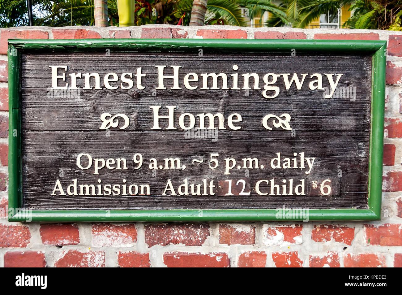 Ernest Hemingway Home & Museum sign, Key West, Florida Stock Photo