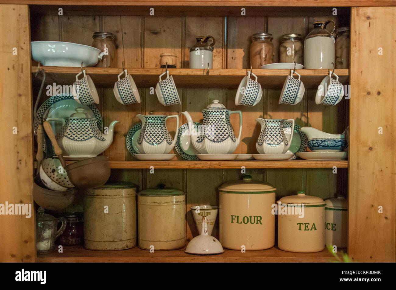 Rustic kitchenware at Lavandula Swiss Italian Farm, near Hepburn Springs, a popular weekend destination in Victoria, Stock Photo