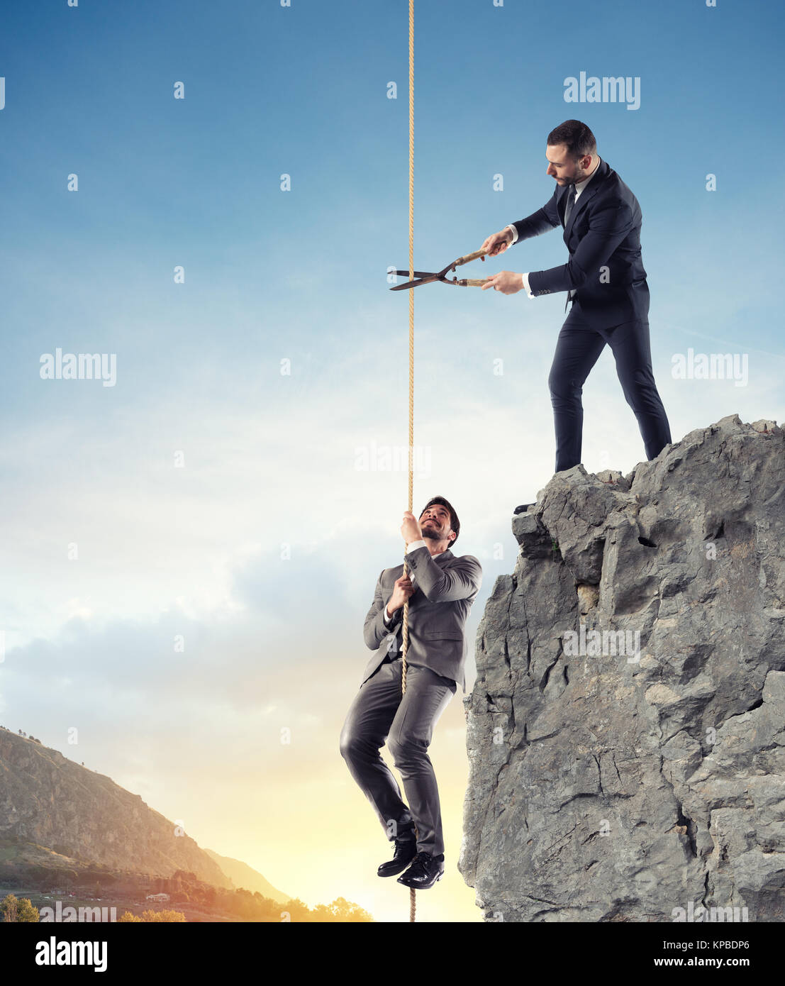 Businessman who doesn't help a competitor. Concept of unfair competition - Stock Image