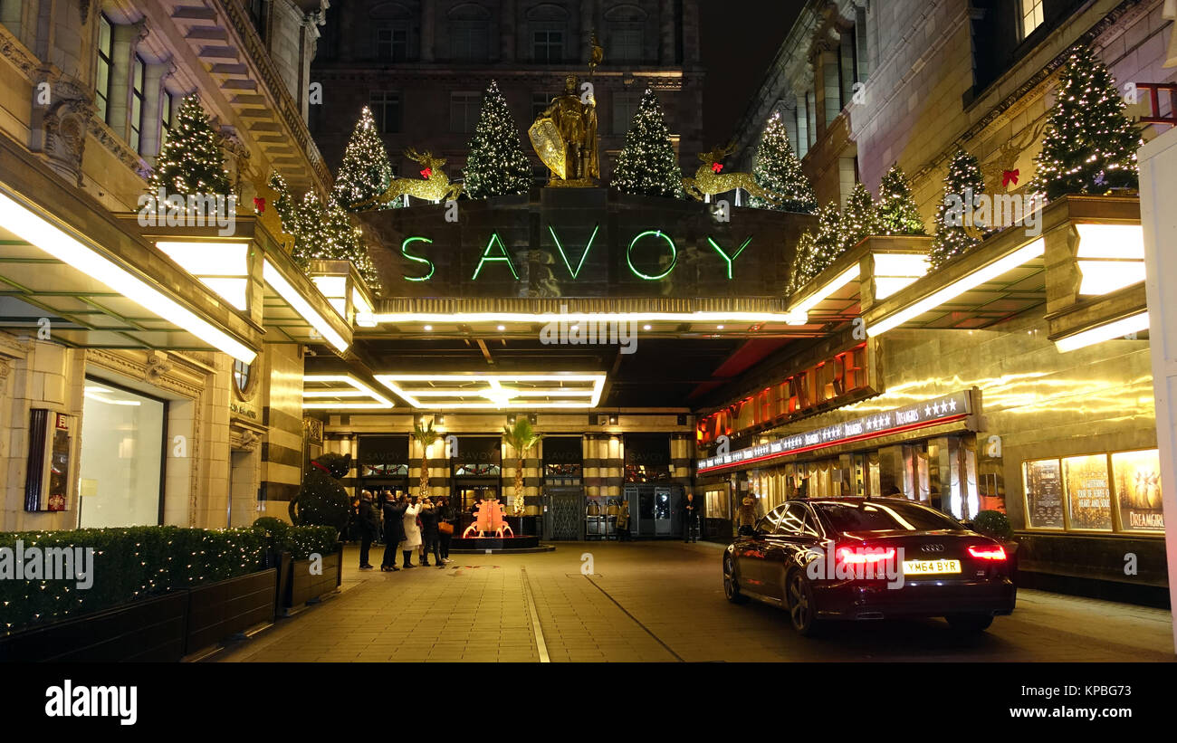 Main entrance to the Savoy Hotel, London, Uk - Stock Image