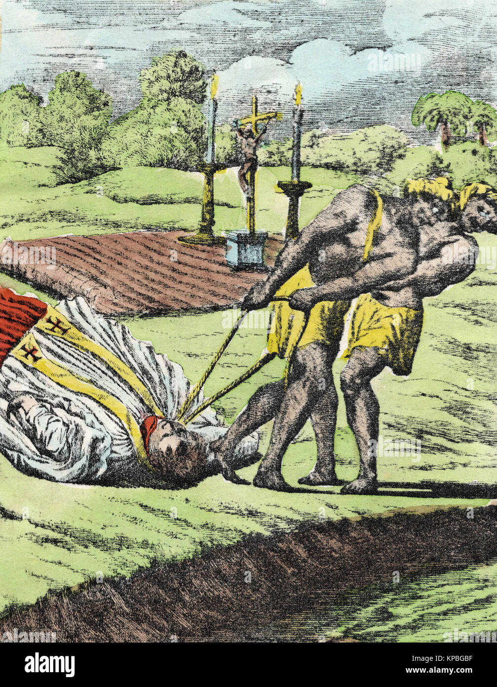 Two Indians drag a Jesuit missionary by the neck after having reached it in South America. From Mathia Tanner's - Stock Image