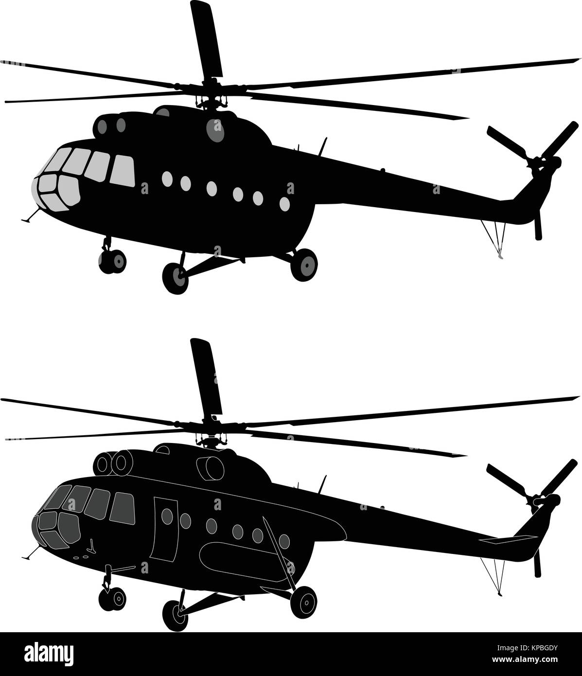 silhouette of russian MI-8 helicopter - vector - Stock Vector
