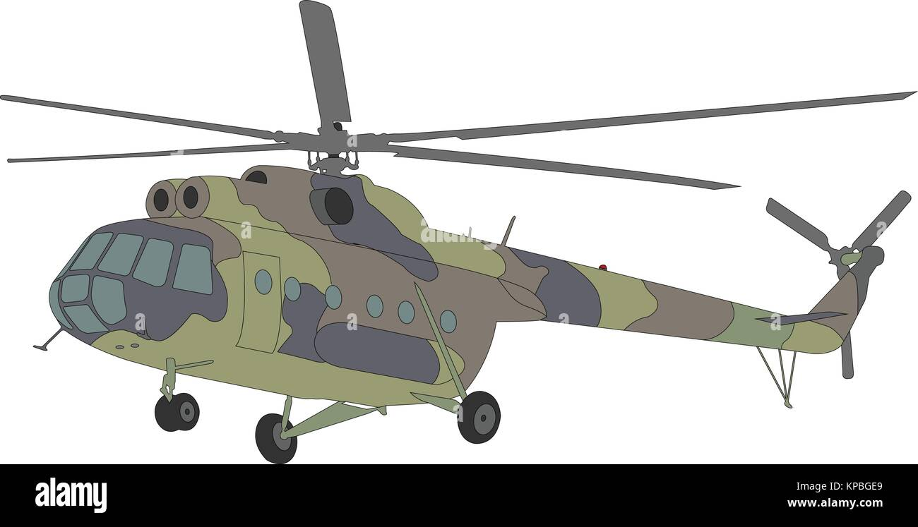Mi-8 helicopter illustration - vector - Stock Vector