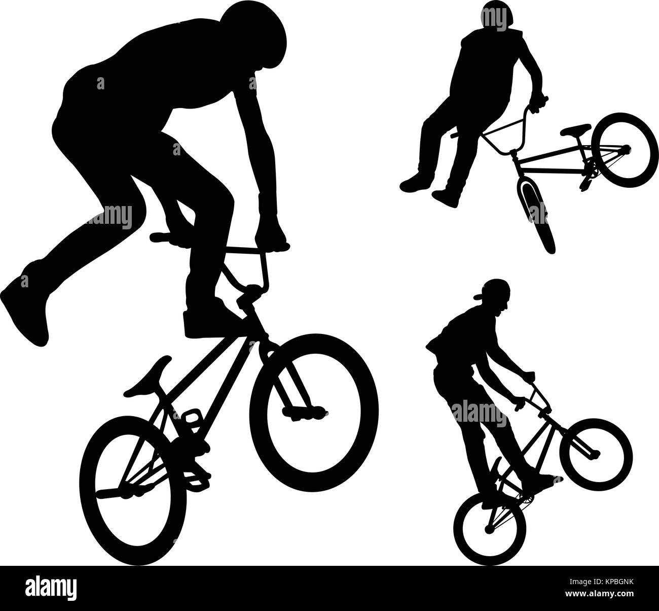 bmx stunt cyclists silhouettes - vector - Stock Vector