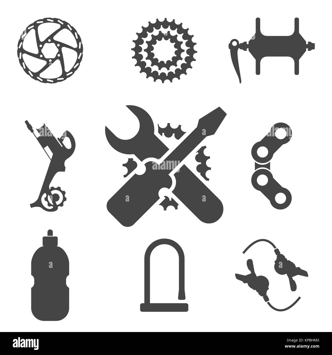 Bike Parts Accessories Repair And Maintenance Vector Silhouette