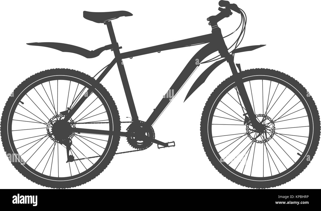 Mountain Bike Silhouette. MTB Bicycle Vector Illustration - Stock Image