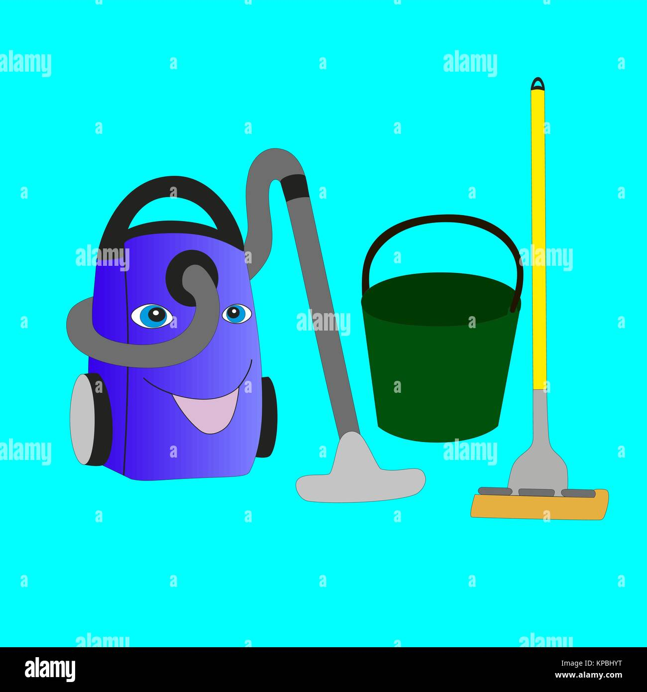 Smiling vacuum cleaner, bucket and mop isolated on blue background. - Stock Vector