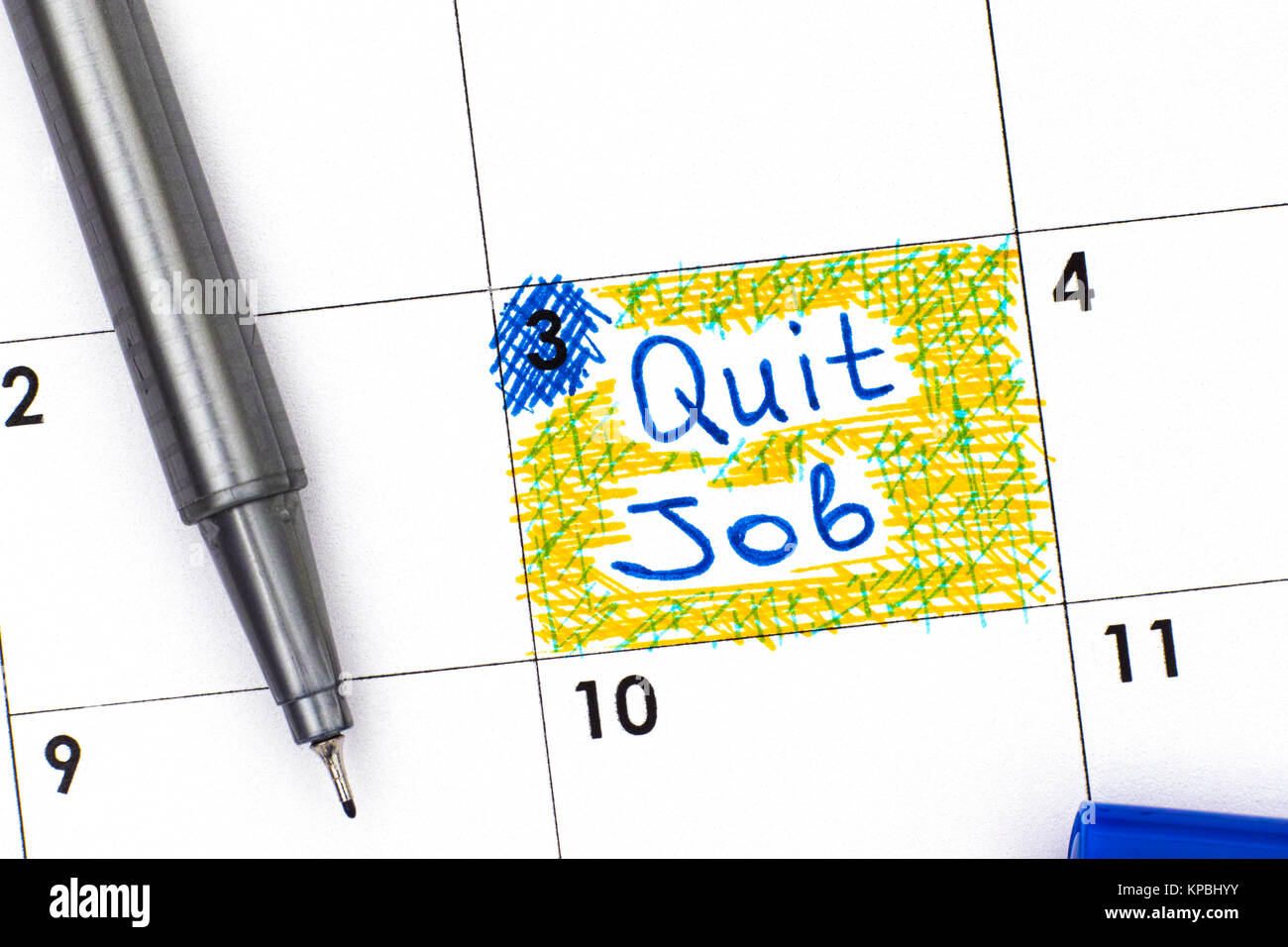 Reminder Quit Job in calendar with blue pen. Close-up. - Stock Image