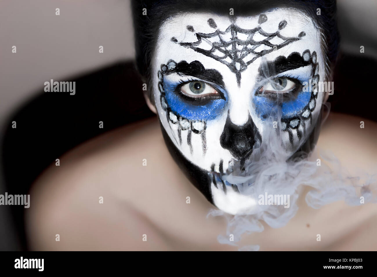Halloween make up sugar skull Santa Muerte concept. - Stock Image