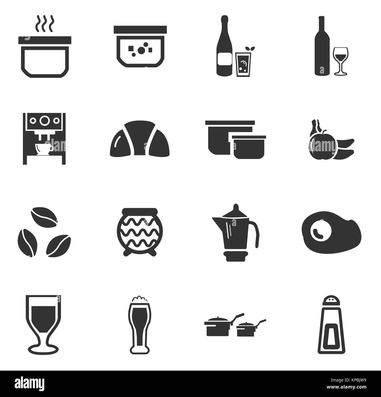 Food and kitchen icons set - Stock Image