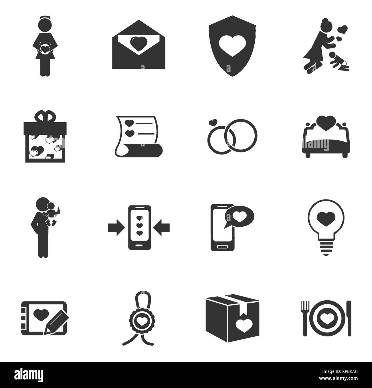 Valentine day icons set - Stock Image
