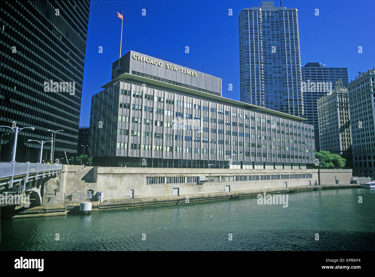 1988 HISTORICAL CHICAGO SUN TIMES NEWSPAPER BUILDING THE LOOP CHICAGO ILLINOIS USA - Stock Image