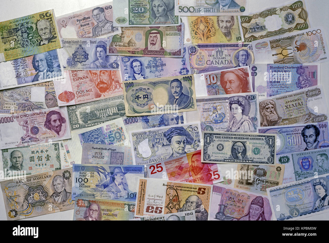1988 HISTORICAL NATIONAL CURRENCIES - Stock Image