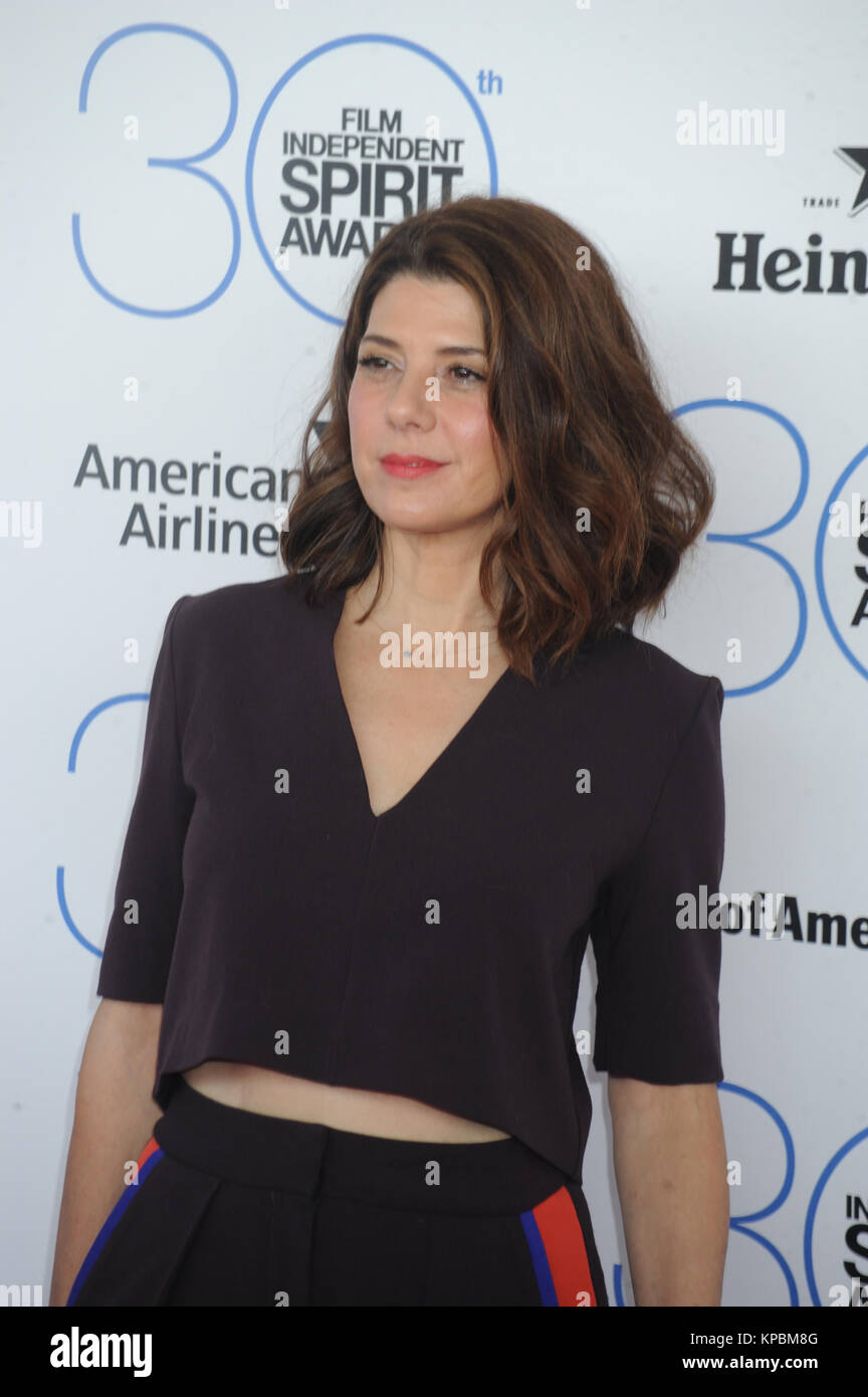 SANTA MONICA, CA - FEBRUARY 21:  Marisa Tomei attends the 2015 Film Independent Spirit Awards at Santa Monica Beach - Stock Image