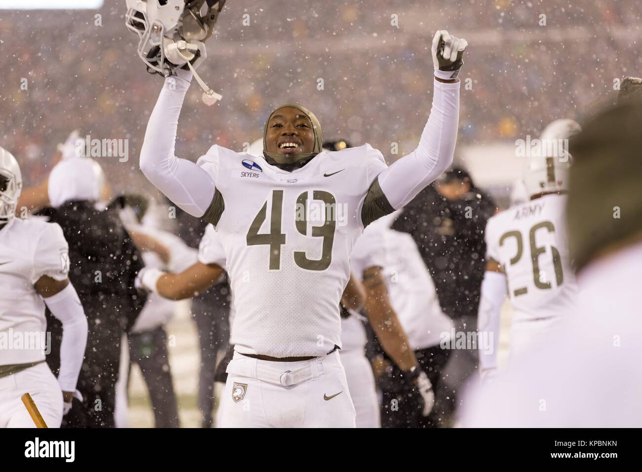 A U.S. Army football player celebrates during the U.S. Army Military Academy at West Point Black Knights versus - Stock Image