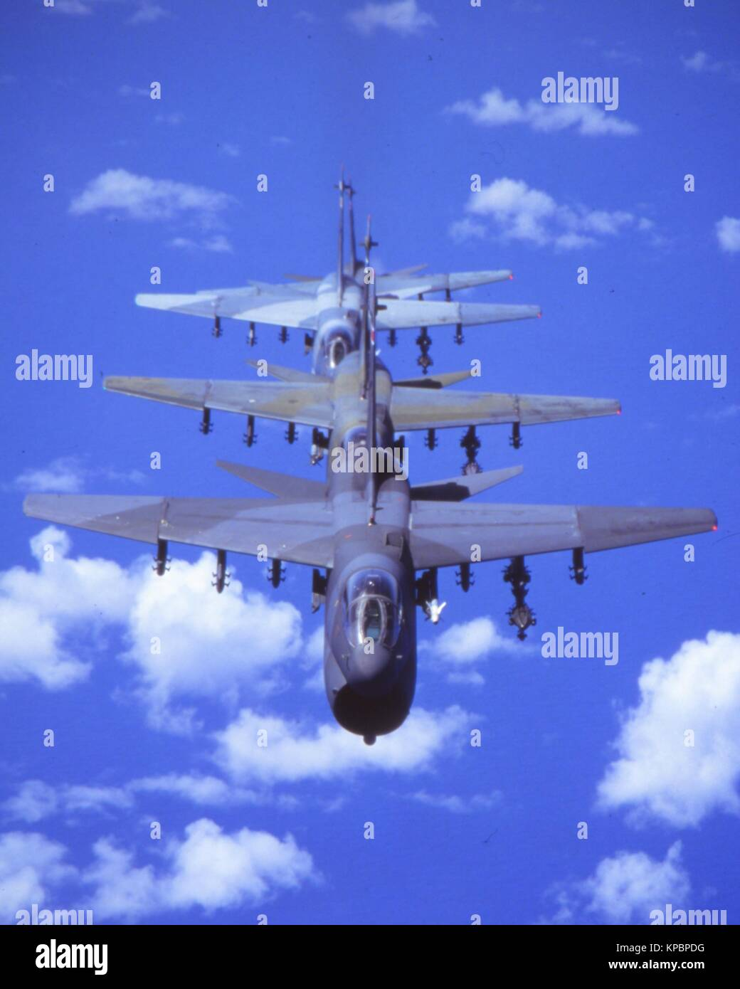 Four U.S. Air Force A-7D Corsair attack aircraft fly in an in-trail formation 1992 over the Caribbean. - Stock Image