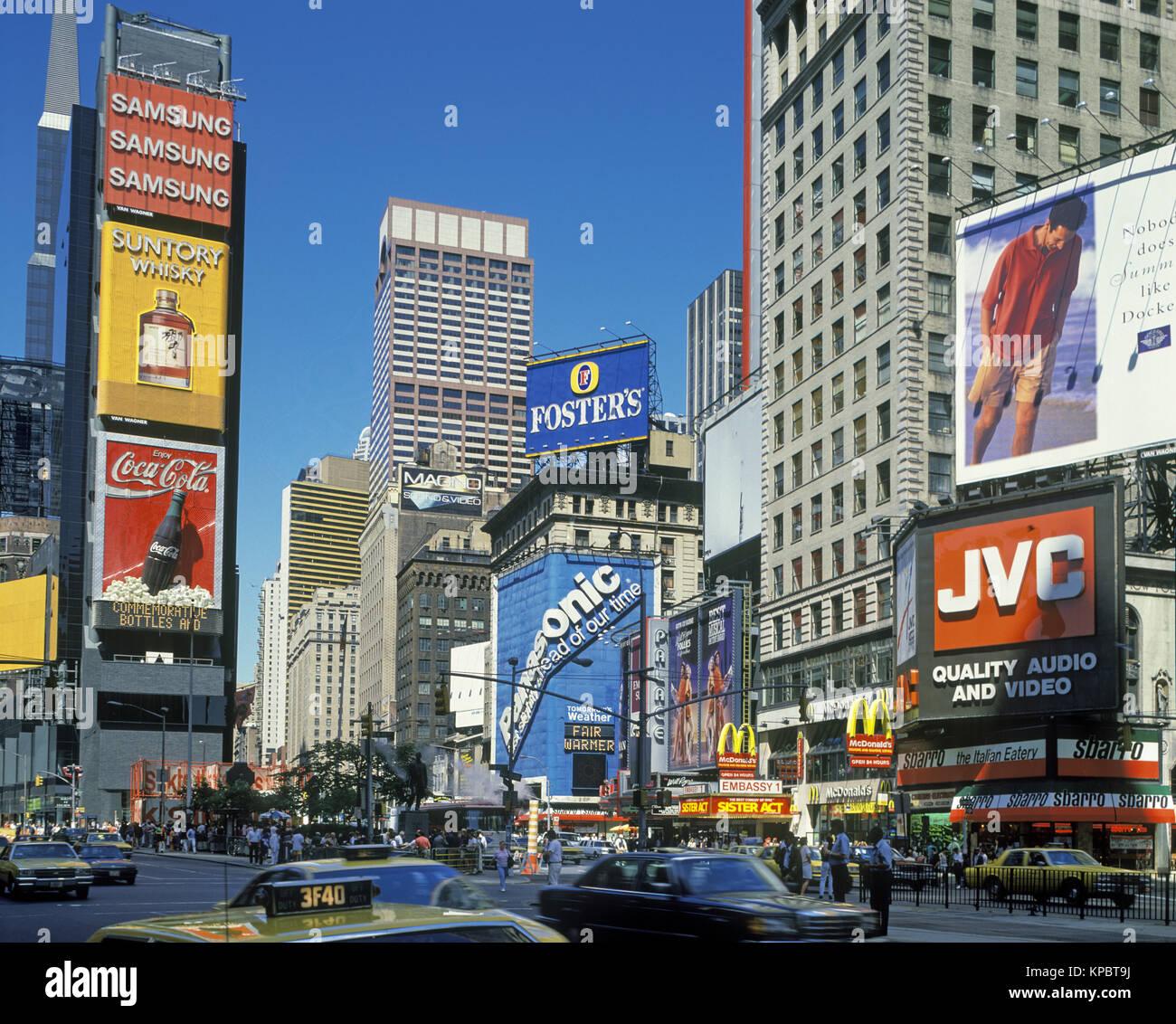 Manhattan To New York City: 1992 HISTORICAL TIMES SQUARE MANHATTAN NEW YORK CITY USA