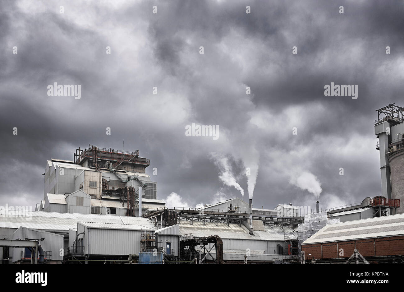 Steam coming out of industrial works near Northwich - Stock Image