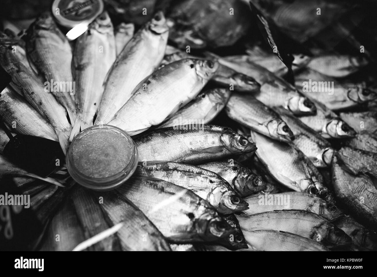 fresh fish on the store shelves, diet food seafood - Stock Image