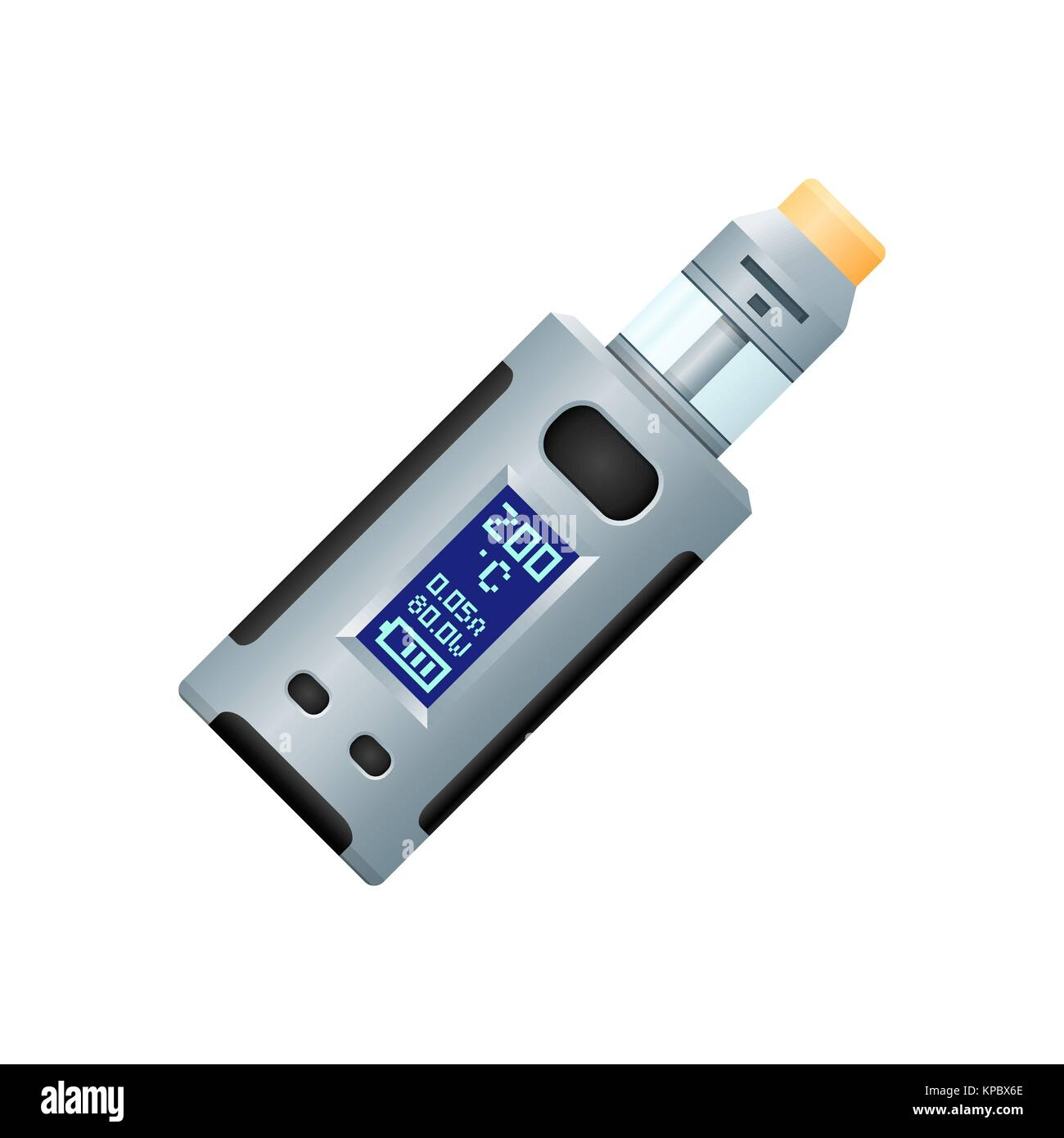 vector colorful flat design variable wattage thermo control box mod vaporizer device with RDTA type atomizer realistic - Stock Image