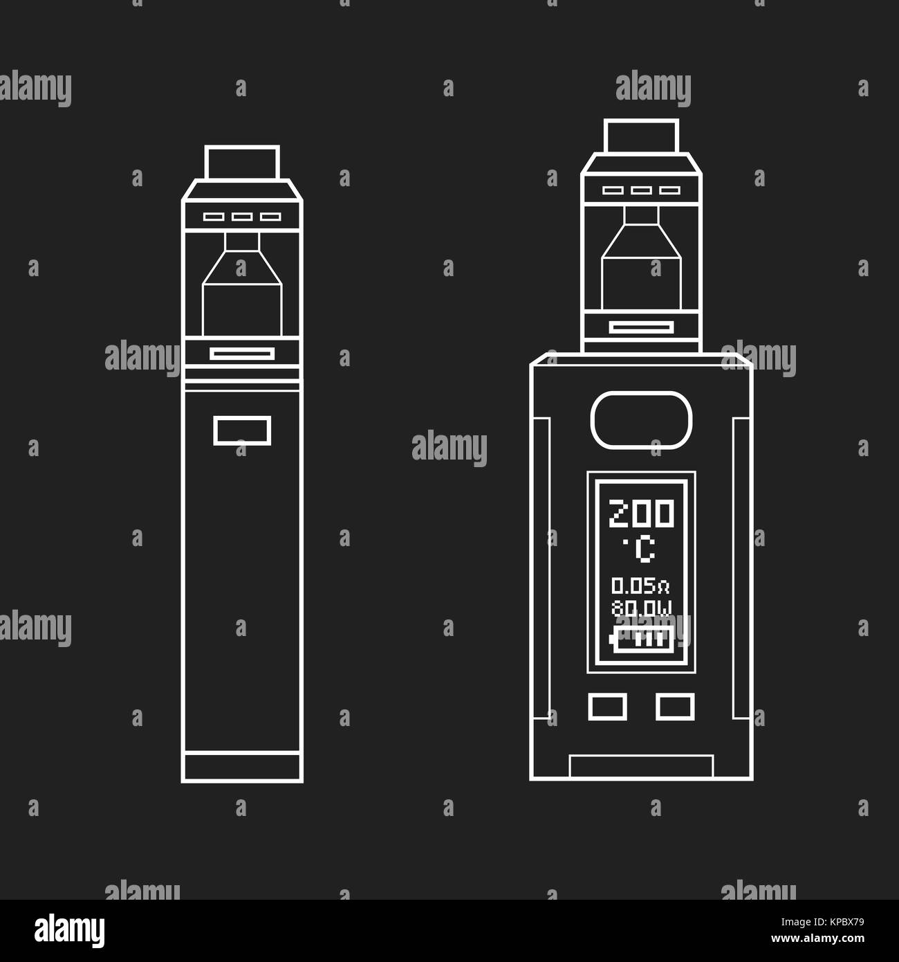 vector white monochrome outline illustrations various types vaporizer mechanical and box mods illustrations isolated - Stock Image