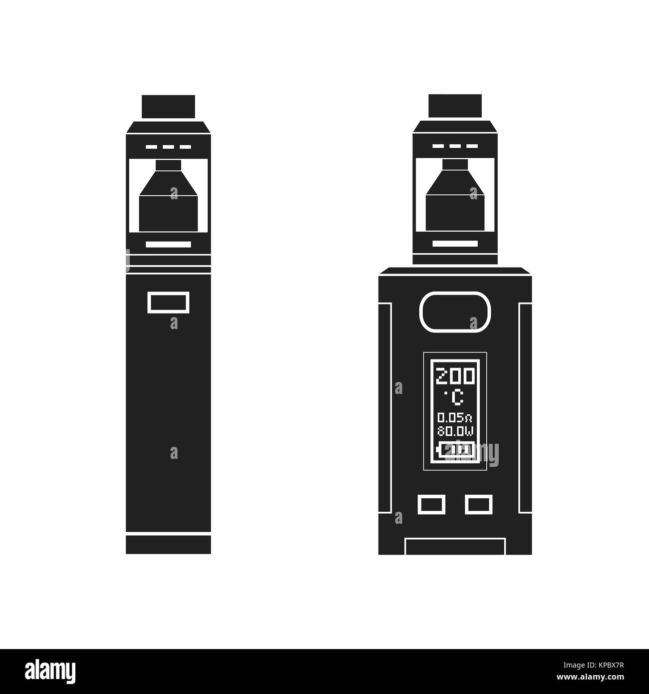 vector black monochrome solid illustrations various types vaporizer mechanical and box mods illustrations isolated - Stock Image
