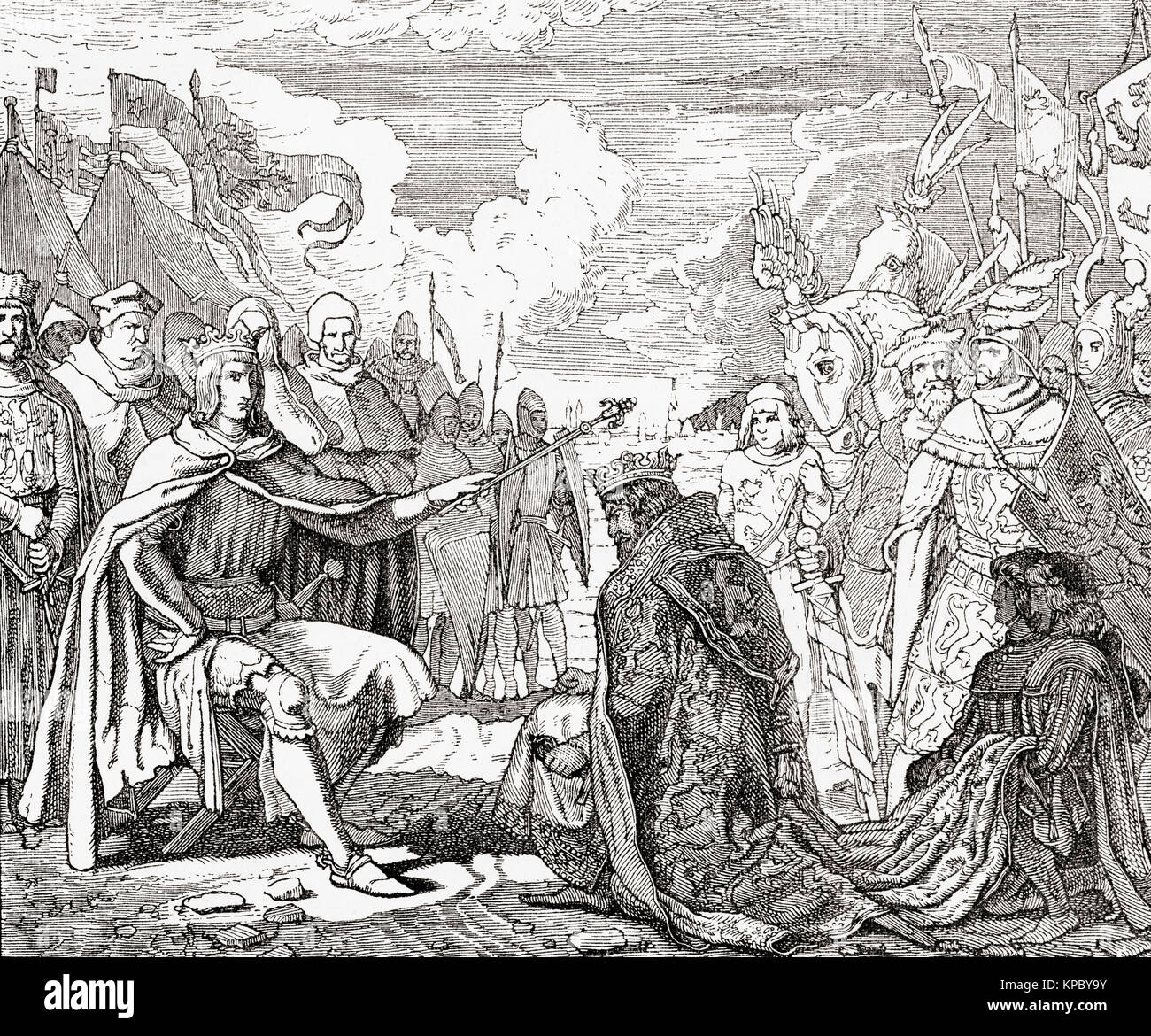Rudolf of Habsburg reinvesting Ottokar with the Kingdom of Bohemia after his submission in 1276.  Ottokar II of - Stock Image