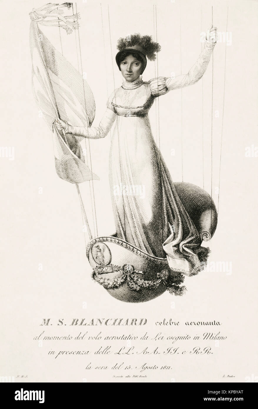 Sophie Blanchard, aka Madame Blanchard, 1778 – 1819. French aeronaut and the wife of ballooning pioneer Jean-Pierre Stock Photo