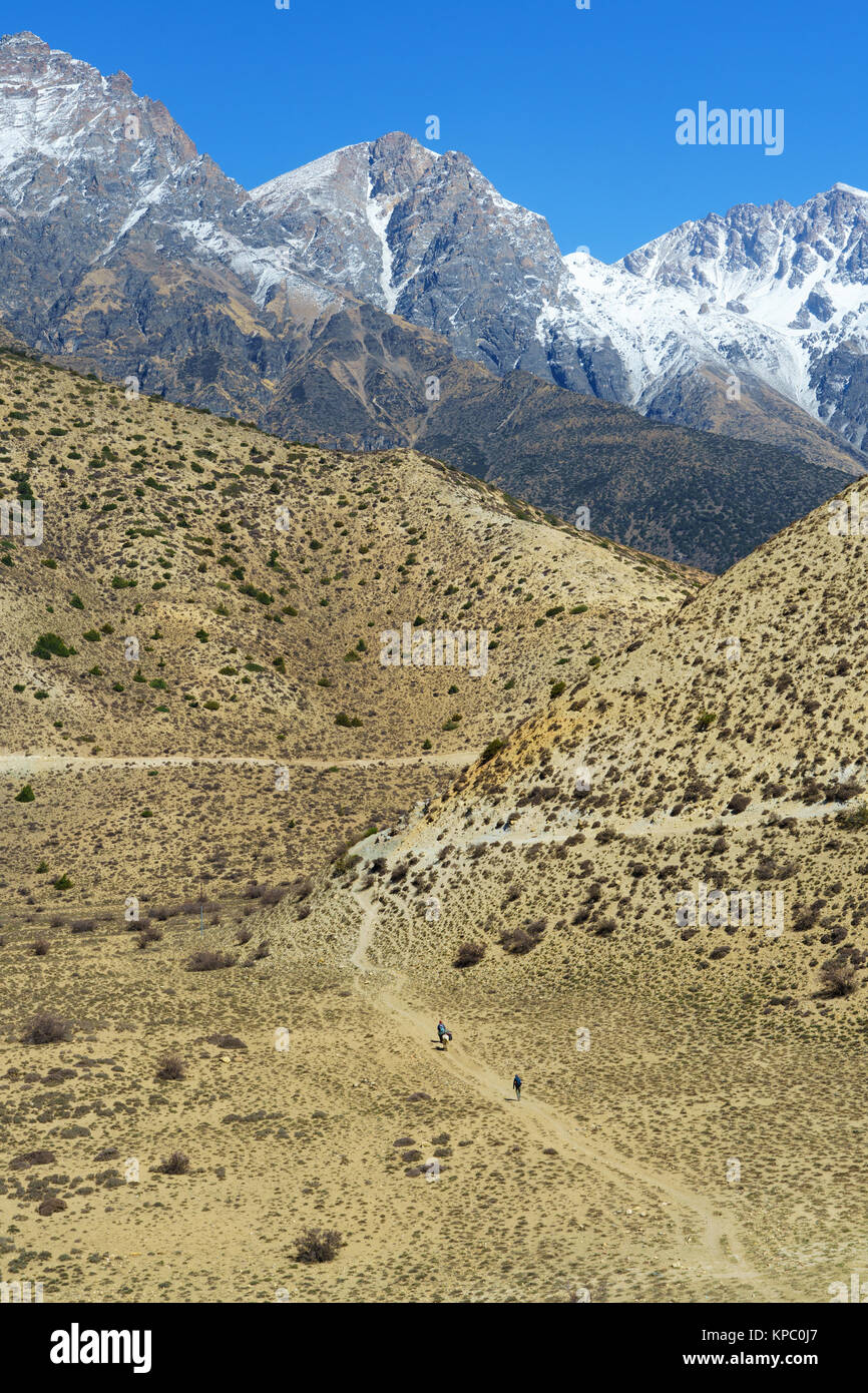 Trekker and horseman walking on the trail between Chele and Samar, Upper Mustang region, Nepal. - Stock Image