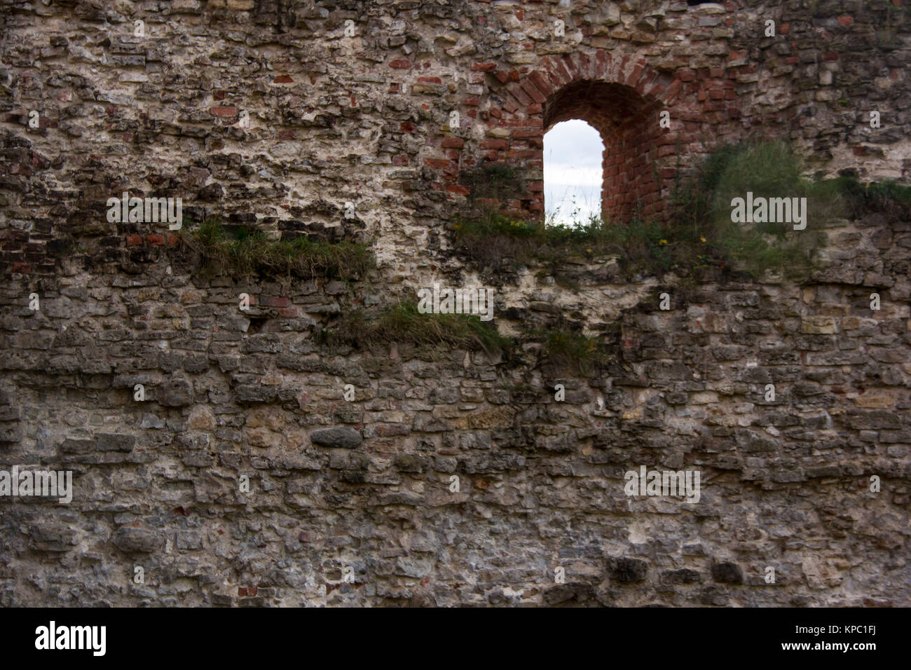 Old Brick Textures of the Livonia Order Castle Was Built in the Middle of the 15th Century. Bauska Latvia - Stock Image