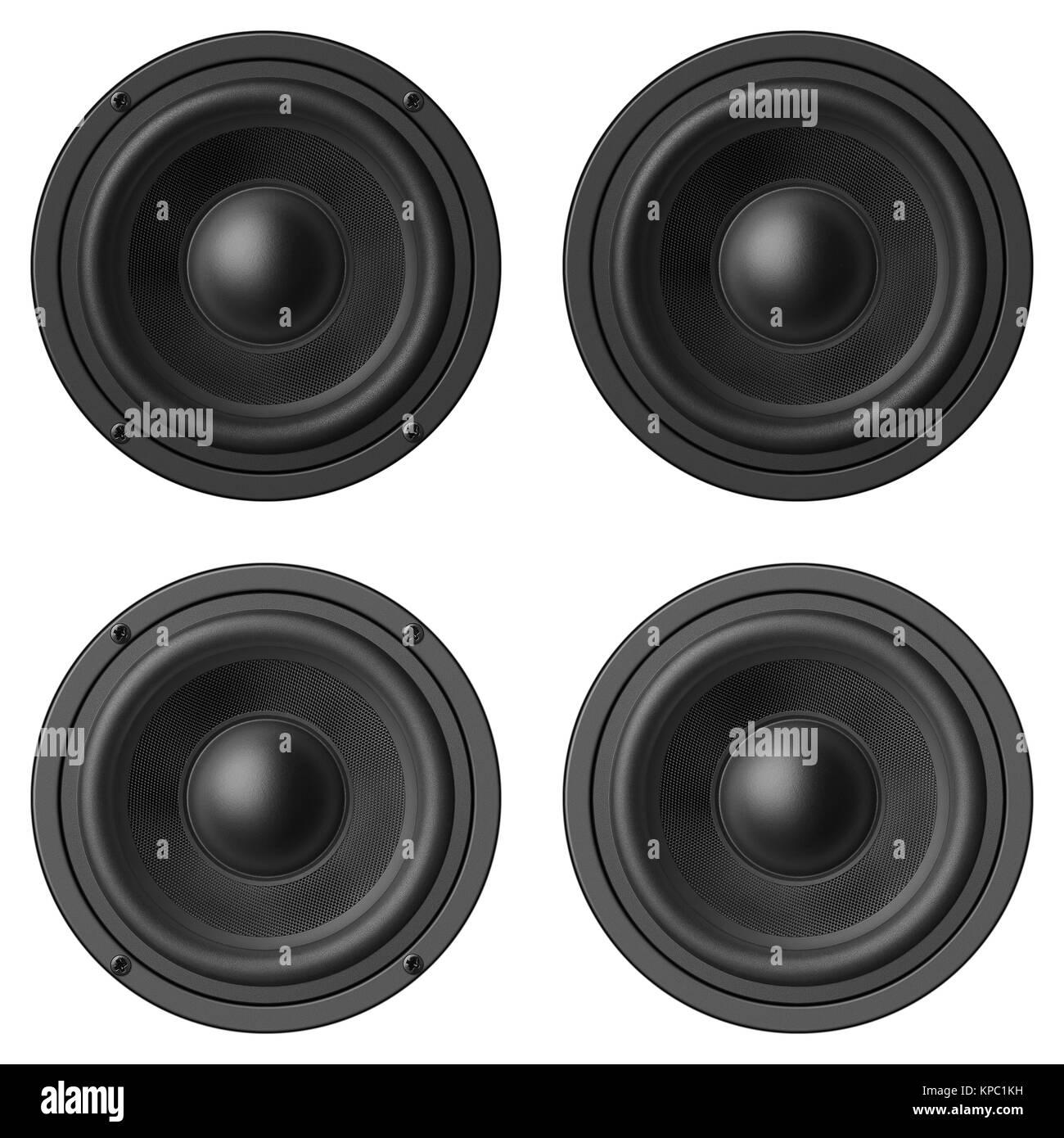 Stereo music audio equipment bass sound speaker - Stock Image